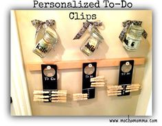 """Chore clips on """"door knob sign"""" ToDo lists with hanging allowance jars. (Ready to take chores online? Try FamZoo.com)"""