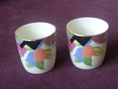 Art Deco Pair of Egg Cups Rare Tulip Design