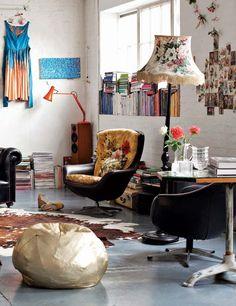 Inspiratie; de lampenkap en de kussens in de stoel