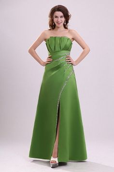 Green A-Line Straps Bridesmaids Dresses ted2756 - SILHOUETTE: A-Line; FABRIC: Satin; EMBELLISHMENTS: Beading , Draped; LENGTH: Floor Length - Price: 91.7600 - Link: http://www.theeveningdresses.com/green-a-line-straps-bridesmaids-dresses-ted2756.html