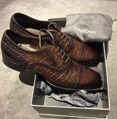 4d6355d412fd NWT 13K TOM FORD Shoes-12.5TF - 13US Medium-CROCODILE OXFORD-Chestnut Brogue