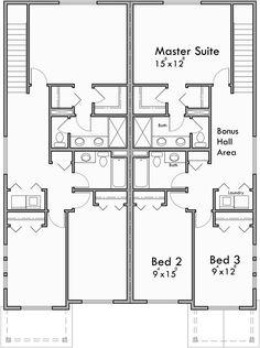Upper Floor Plan For Craftsman Duplex House Plans, House Plans With Rear  Garages, 3 Bedroom Duplex House Plans, Narrow Townhouse Plans,
