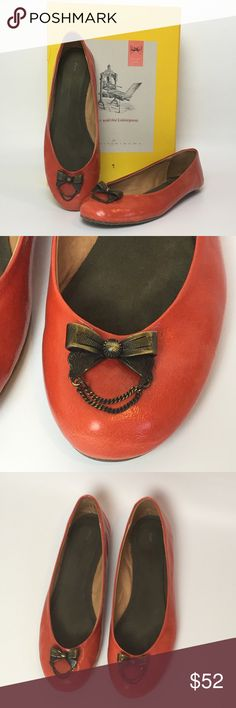Anthropologie Trinket Flats Adorable Pilcro and the letterpress orange patent flats with bow trinkets. Excellent condition. Anthropologie Shoes