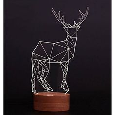 3D Visualization LED Lights Oohyo Night Illusion Desk Lamp, Optical Illusion Art Sculpture Decoration Kit Decor Lamp-Reindeer ** Check this awesome product by going to the link at the image. (This is an affiliate link) #NoveltyLighting