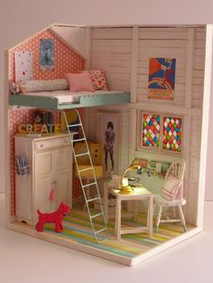 Here are some beautiful DIY dollhouse ideas that you can craft yourself. If you involve your little princess in the process, she will surely love to create a dollhouse for her beautiful barbie dolls. Wooden Dollhouse, Diy Dollhouse, Dollhouse Miniatures, Doll House Crafts, Doll Crafts, Miniature Rooms, Miniature Houses, Barbie Furniture, Dollhouse Furniture