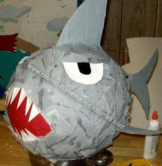 My Homemade Shark Pinata: My son decided he wanted to have an underwater shark attack birthday party for his fifth birthday.  I took the idea and ran with it.  First:  I made homemade