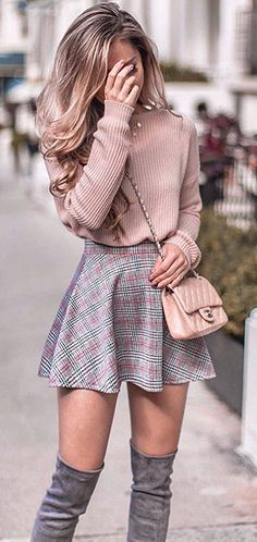 Pastel pink knit sweater, skater skirt and over the knee boots outfit for fall. … Pastel pink knit sweater, skater skirt and over the knee boots outfit for fall. Same sweater in link! Classy Winter Outfits, Winter Fashion Outfits, Cute Summer Outfits, Cute Casual Outfits, Fashion Clothes, Classy Outfits For Teens, Winter Outfits With Skirts, Cute Outfits For Girls, Winter Fashion For Teen Girls