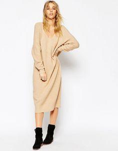 ASOS+Midi+Dress+In+Mohair+With+V-Neck