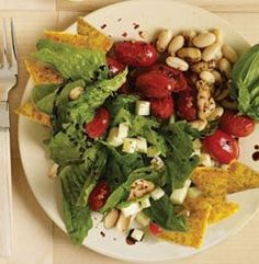 Mediterranean Salad With Polenta Croutons