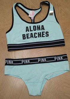 b41d5d2106082 Victorias Secret PINK Nation Aloha Beaches Bra   Panty Logo Set Size M NWT