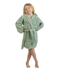 Sage Long Staple Combed Cotton Hooded Bath Robe - Kids Bath Towels 3e9ef5672