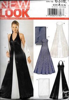 Simplicity New Look Pattern # 6318 Lined Formal Evening Dress Size 6-16 NEW-UNCUT-Bust 30-38 by vintagepatternstore on Etsy