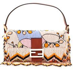 FENDI 'Baguette' Hand-beaded and Fringed Shoulder Bag ($4,355) ❤ liked on Polyvore