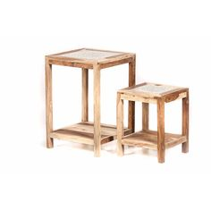bijzettafel set van twee tafeltjes: hout unfinished met mozaïek transparant