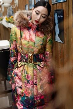 Racoon Fur Down Jacket Overcoat Bohemian Coat Outerwear Maxi Gown Midi Long Wedding Trench Party New Year Holiday Yellow Pink Floral Print