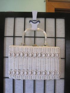 Vintage 1950s 1960s White Rattan Handbag Purse Beaded Woven Basket Bag Hong Kong