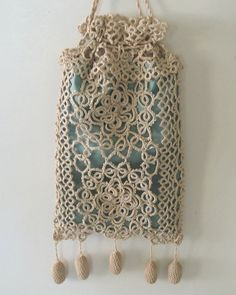 Vintage Ecru Tatted Lace Drawstring Bag Reticule