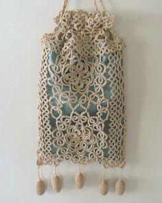 Vintage Ecru Tatted Lace Drawstring Bag Reticule
