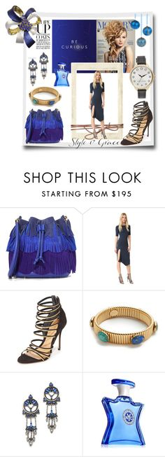 """""""Rock the Christmas Party in Blue!!"""" by stylediva20 on Polyvore featuring Sara Battaglia, Cushnie Et Ochs, Schutz, Gas Bijoux, DANNIJO, Bond No. 9 and Marc Jacobs"""