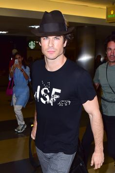 Ian Somerhalder dons a fedora while touching down at LAX Airport on Saturday (August 9) in Los Angeles.