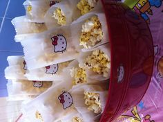Hello Kitty Popcorn #kids #party #ideas... well for a boy do something boyish...