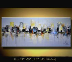 Original Abstract Painting, Modern Textured Painting,  Palette Knife cityscape, Home Decor, Painting Oil on Canvas  by Chen n200