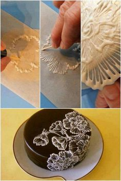 Cake decorating - lace technique - brush embroidery..but looks like you do this one separately and then put on cake. Also looks like chocolate.
