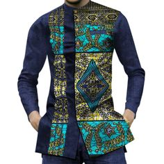 Modern Fashion Womens Tops Dashiki African Print Shirt - Mens Shirts Casual - Ideas of Mens Shirts Casual - African Dashiki Patchwork Print Shirt Tops Dukaiko African Shirts For Men, African Dresses Men, African Attire For Men, African Clothing For Men, African Clothes, African Wear Styles For Men, African Wedding Attire, Nigerian Men Fashion, African Men Fashion