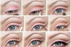 Step-by-step fanciful pink eyeshadow for blue eyes.