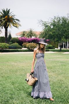 gingham maxi dress, summer style.