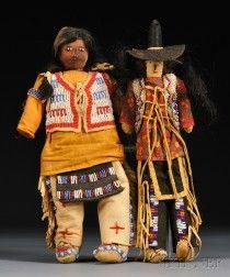 Two Pine Ridge Beaded Dolls