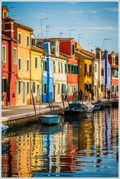 In Burano Island, Venice, Veneto, Italy City Painting, Oil Painting Abstract, Places Around The World, Around The Worlds, Abstract City, Colourful Buildings, Colorful Houses, Italy Holidays, City Art