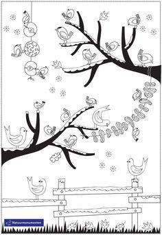 Winterse kleurplaat   Natuurmonumenten Dog Coloring Page, Colouring Pages, Coloring Pages For Kids, Feeding Birds In Winter, Winter Project, Christmas Coloring Pages, Too Cool For School, Christmas Colors, Bird Feeders