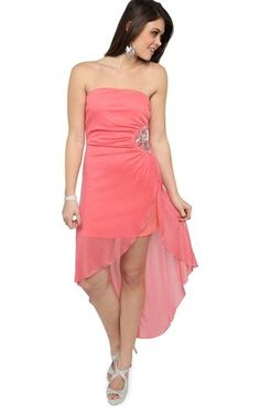 Deb Shops Strapless Glitter High Low #Prom #Dress with Rhinestone Applique Side $62.90