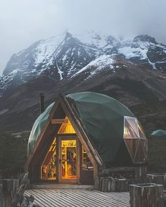Here are some tiny dome cabins in Patagonia. They are part of the EcoCamp Patagonia Domes that you can actually book and stay in. Oh The Places You'll Go, Places To Travel, In Patagonia, Patagonia Travel, Patagonia Hotel, Into The Woods, Dome House, Adventure Is Out There, The Great Outdoors