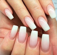 Translucent to white ombre acrylic nails