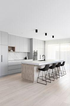 Grey Kitchen Designs, Kitchen Room Design, Modern Kitchen Design, Home Decor Kitchen, Interior Design Kitchen, Home Kitchens, Kitchen Ideas, Kitchen Design Minimalist, Modern Kitchen Lighting