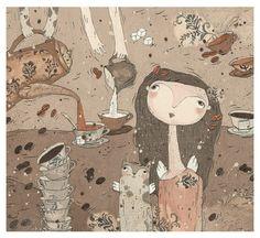 Original Illustration by Anastasya Prosvetova  Poster for romantics and fans winged, a gentle decor for the house.  Original illustration: acryle,