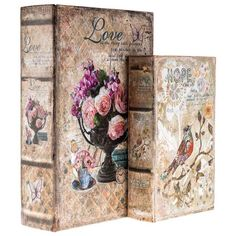 Take organization to a whole new level with this Birds & Flowers Lined Book Box Set! These fun book boxes feature vintage designs with flowers on one and a Vintage Birds, Decorative Boxes, Decorative Accessories, Wall Decor, Glamorous Decor, Box, Vintage Designs, Set Shopping, Decorative Storage