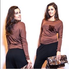 Long sleeved comfy mocha top w/ sequin pocket Super comfy and soft long sleeved top with glam sequin pocket :) Tops Tees - Long Sleeve