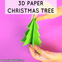Paper Christmas Tree Template - Jolly Christmas Crafts for Kids - Paper Diy Paper Christmas Tree, Christmas Tree Template, Christmas Origami, Handmade Christmas Decorations, Christmas Crafts For Kids, Holiday Crafts, Christmas Ornaments, How To Make Christmas Tree, Black Christmas