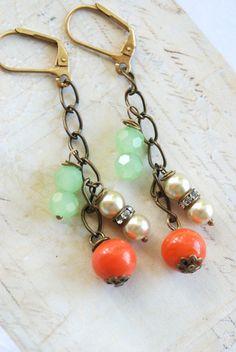 Libby. orange vintage glass drop beaded rhinestone pearl earrings. Tiedupmemories