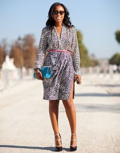 Shiona Turini works a fierce leopard dress and of-the-moment accessories. - HarpersBAZAAR.com