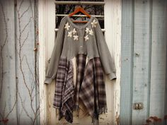 1X 2X Embroidered Gray Plaid Sweater Dress// by emmevielle on Etsy $135.00.  Enter PIN10 at checkout for 10% off.