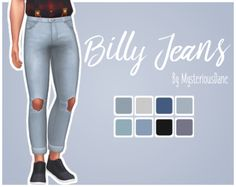 600 followers gift 2/?: Billy JeansI was inspired to edit these base game jeans a bit (made them shorter + tighter around the ankles) and add knee holes because I don't have any jeans like that in my game at the moment? :^0 Anyway, it's nothing major...