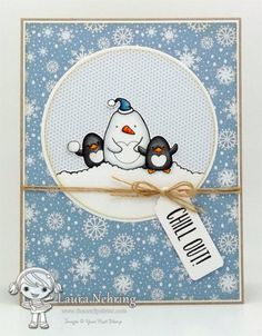 YNS Supplies:  Waddles Winter Happiness stamp set |Silly Monsters Chill Out (sentiment)  | Circle Die Set | Bookmark / Tag Die Set Large  | Black Olive Ink Pad