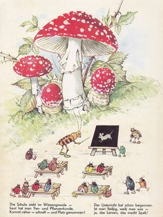 and this is why I became a teacher ;) From 'In Brummelstadt' Illustrated by Fritz Baumgarten Pestalozzi Verlag (Erlangen/Deutschland; Baumgarten, Mushroom Art, Photo D Art, Woodland Creatures, Children's Book Illustration, Vintage Pictures, Vintage Children, Illustrations Posters, Childrens Books