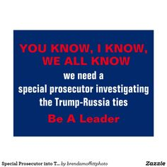 Special Prosecutor into Trump-Russia Ties NOW. We've needed a special prosecutor since Day One of the Trump Presidency.