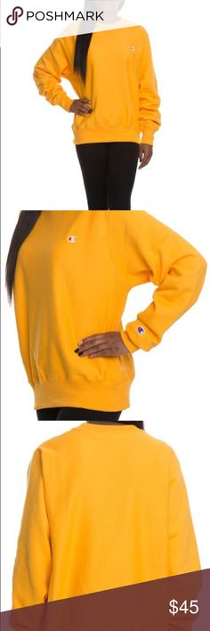 Champion Reverse Weave Crew Sweatshirt XS=0-2, S=4-6, M=8-10, L=12-14, XL=16-18, XXL=20-22. It's gonna be a good day in this comfy, cotton-blend pullover styled with a cozy crewneck, slouchy drop-shoulder sleeves and shapely rib-knit trim. Crewneck Long sleeves with rib-knit cuffs 82% cotton, 18% polyester Machine wash, tumble dry Champion Tops Sweatshirts & Hoodies