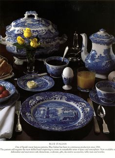 Another picture of blue and white and dark wood. In spring you can add lemons and daffodils and colors would be like this - Spode Blue Italian